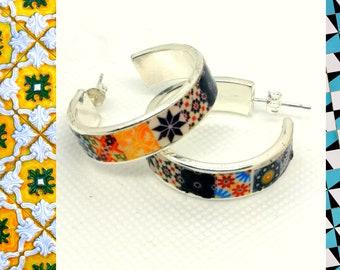 Silver Plated Smooth Circle Earrings,Flat hoop earrings, multicolored hoop earrings, current jewelry, Women Accessories, Best women Gift