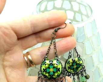 Long chandelier earrings, green earrings for romantic woman, Bohemian jewelry.