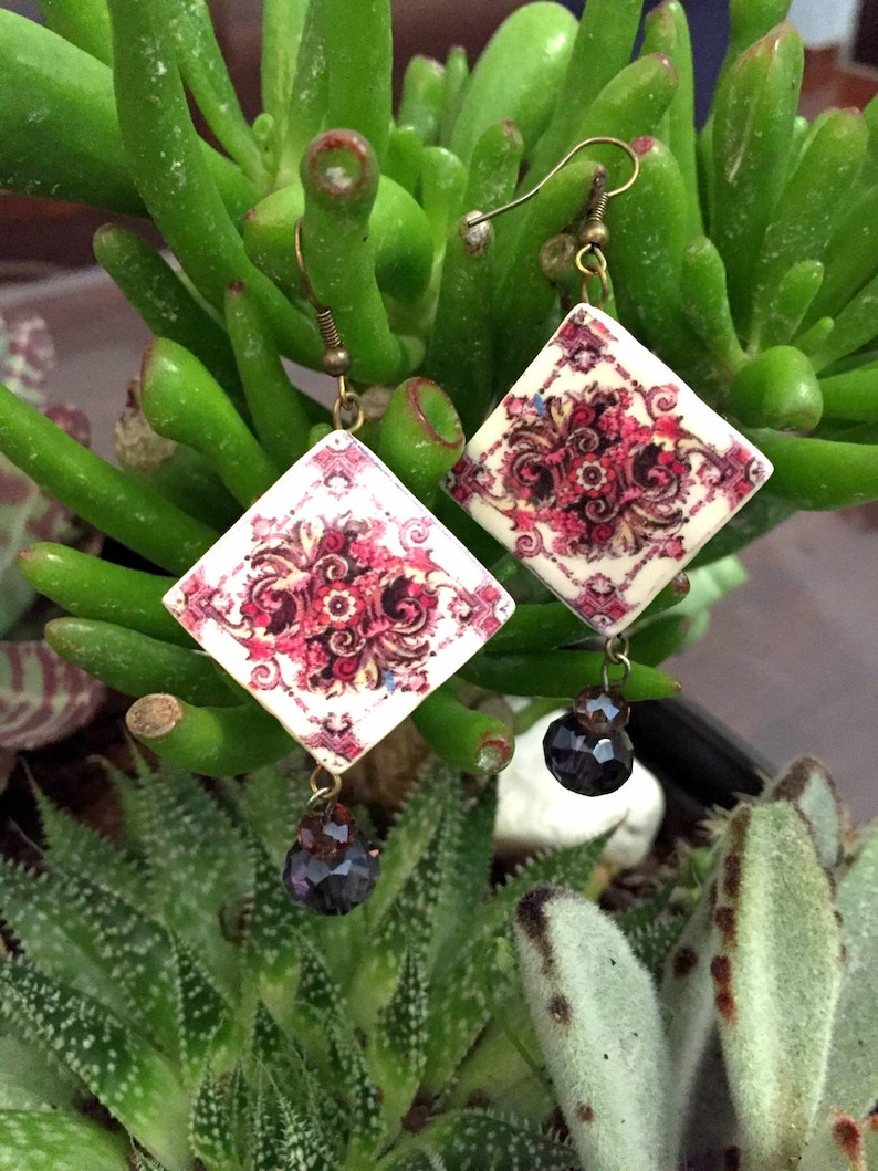 Elegant earrings with Pink Portuguese tile replica Handmade image 0
