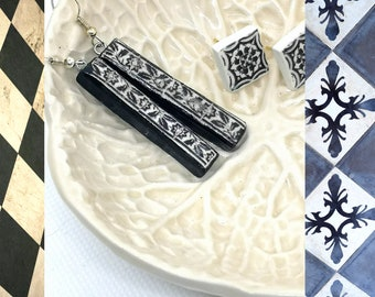 Portugal Matchstick Bar Earrings Black and White Antique Tile, Trending Now, Best Selling Jewelry, Polymer Clay Minimalist Style.