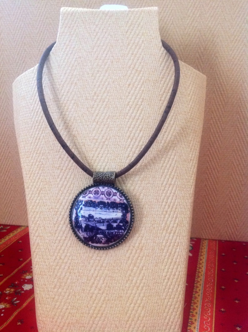 Pendant Necklace with  old Portuguese Tile Panel replica and image 0
