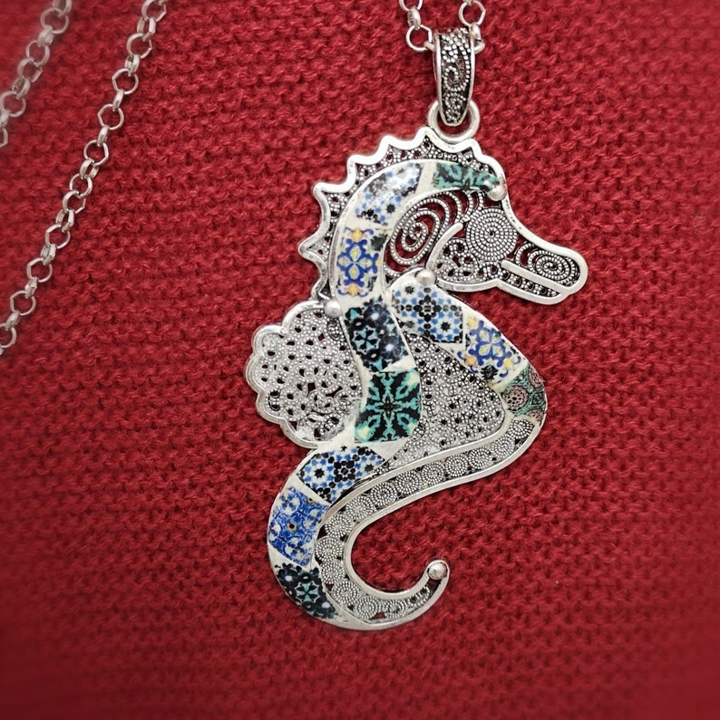 Long Necklace with Seahorse Pendant and Portuguese Tile image 0