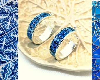 Flat hoop earrings, Jewelry silver Plated Smooth Circle Earrings, blue tile replica, Women Accessories, Best women Gift.