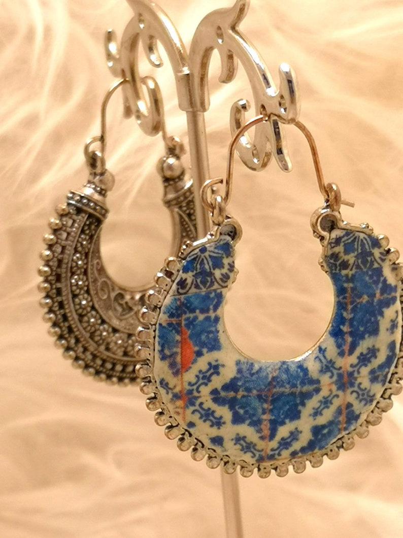 Beautiful antique silver earrings with Portuguese tile image 0