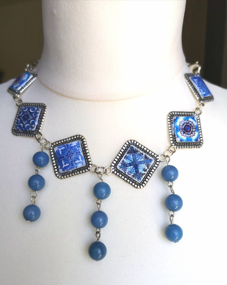 Special choker with portuguese tiles miniatures in blue and image 0