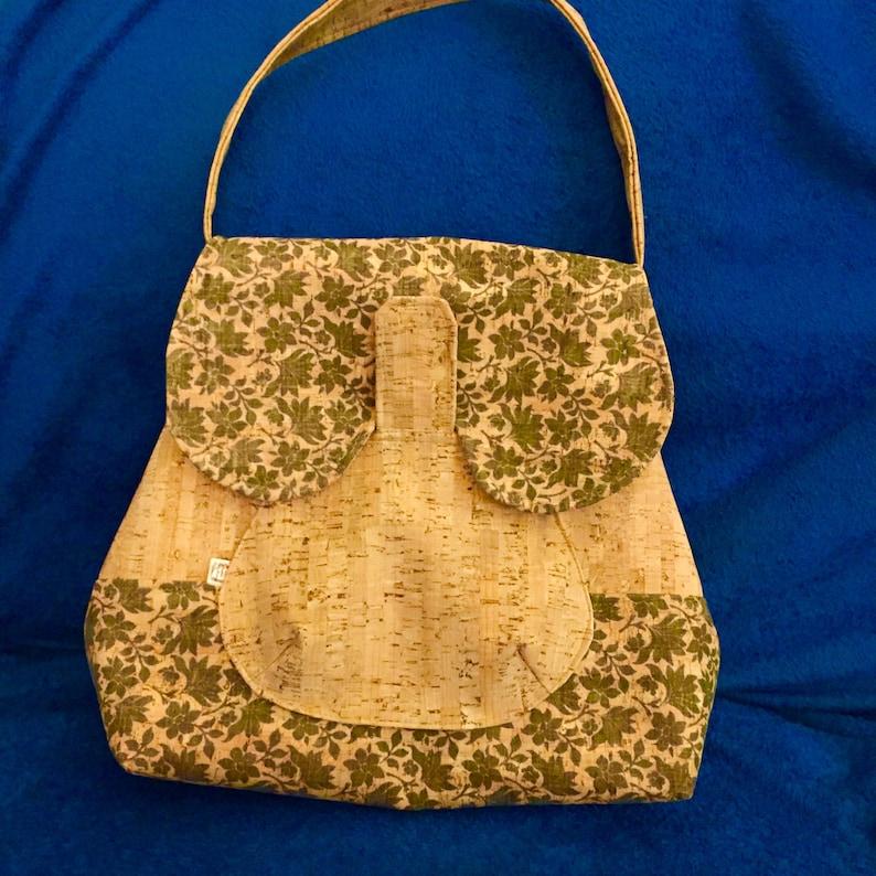 Vintage Shoulder Bag made in Cork with Portuguese fabric image 0