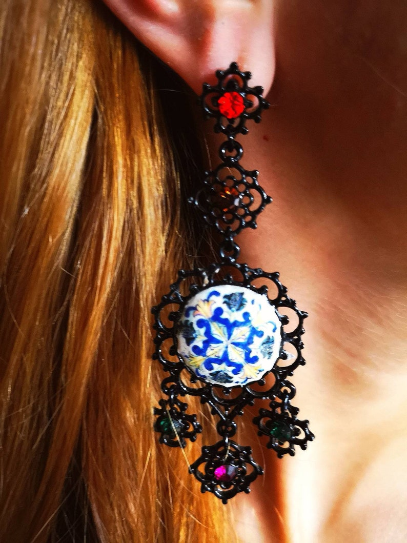 Long  earrings with black metal basefinish and antique tile image 0