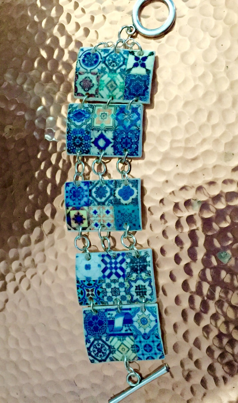Blue Bracelet with Portuguese Tile Replica. image 0