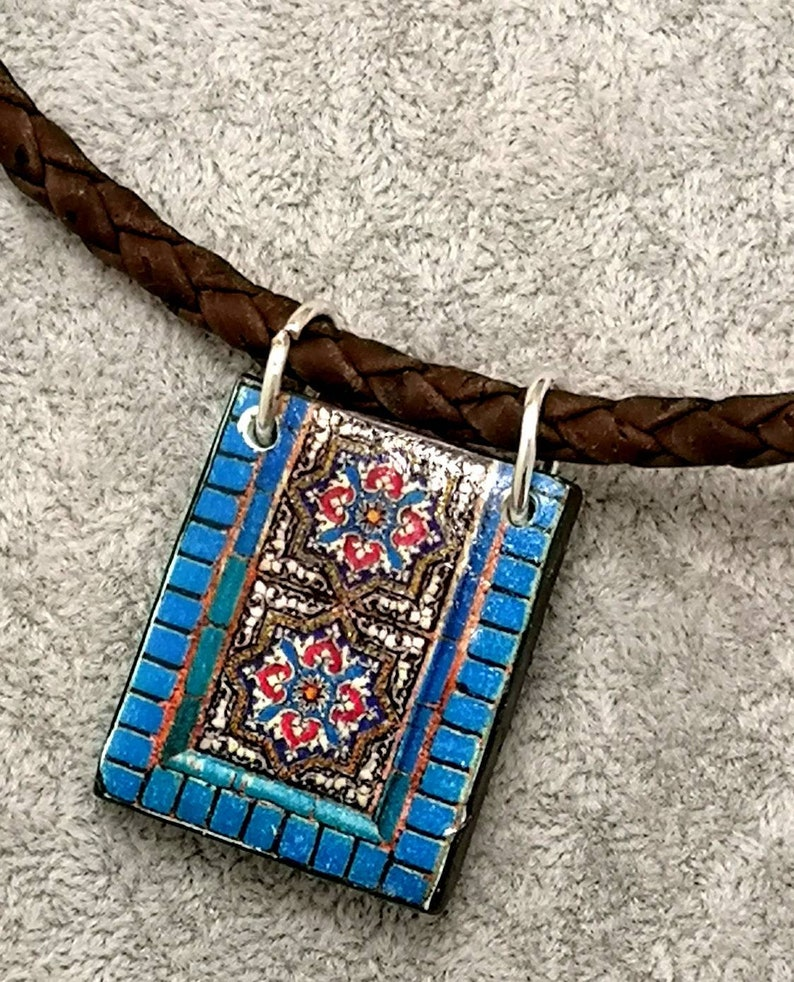 Beautiful handmade choker with replica of Portuguese tile. image 0