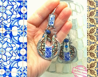 Earrings Silver Chandelier Portugal Antique  Tile, Trending Now, Best Selling Jewelry, Special Christmas gift for her.