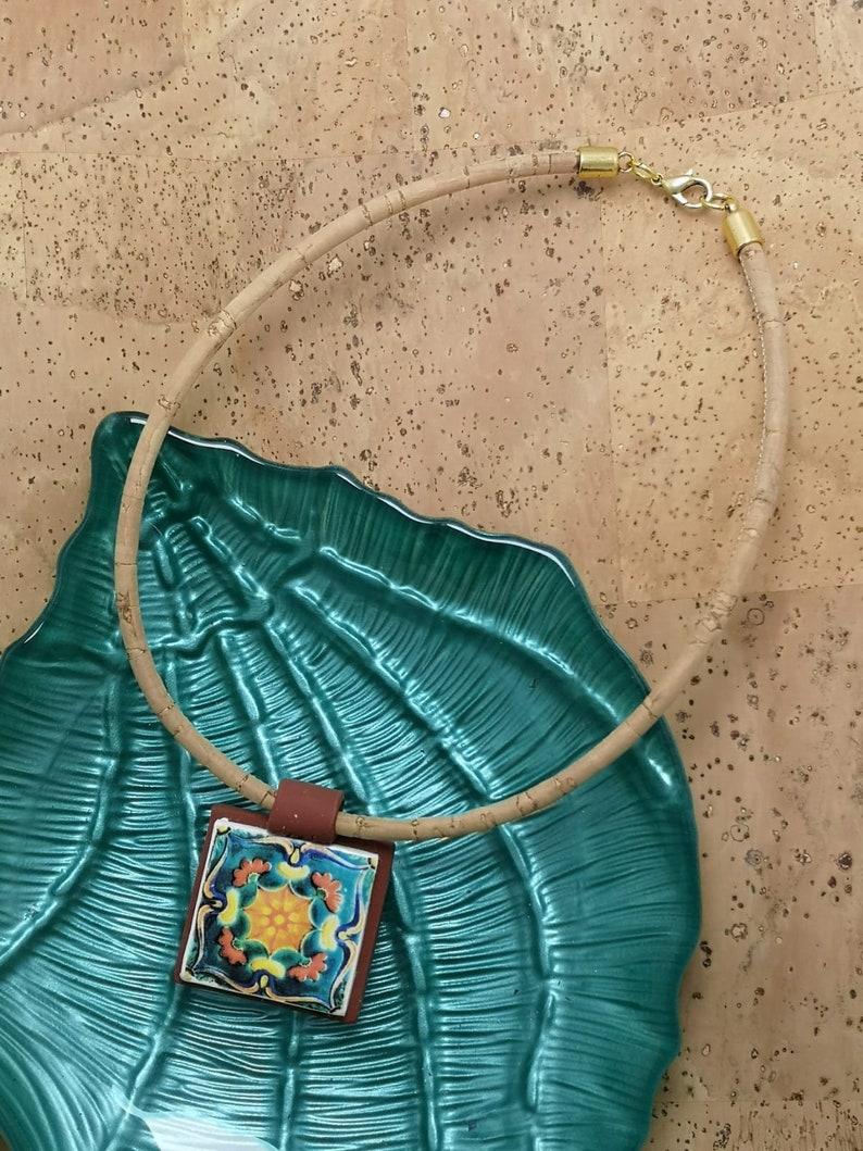 Cork Short necklace with a portuguese tile replica pendant. image 0