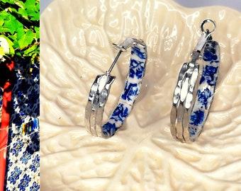 Braided silver hoop earrings, flat hoop earring, current jewelry to wear every day for modern woman , light accessory