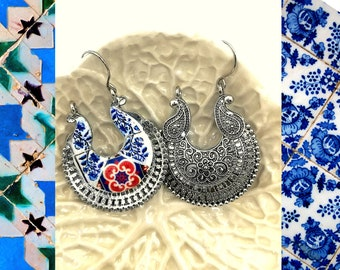 Current woman tribal jewelry, Hoop Earrings boho, Woman gift for  holidays, Portuguese tile replica, antique silver base.