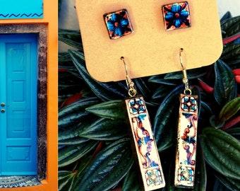 Jewelry Set, two pairs minimalist earrings, post and bar earrings, Italian tile replica, current jewel for modern women