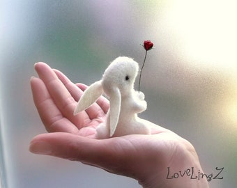 Felt bunny with rose , artist rabbit in gift box, LoveLingZ Collection