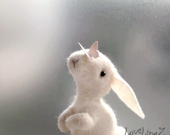White bunny, felt design rabbit with butterfly, hand Made To Order in gift box