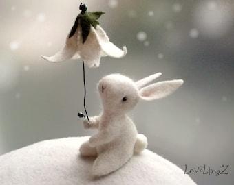 Felt bunny with flower umbrella, enchanted forest artist  mini rabbit