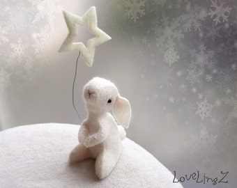 Wishing on a star..... felt mini bunny with star of Hope -  Made To Order for You