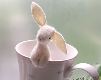 Pocket rabbit, soft felt Designer  bunny in gift box-  Hand Made to order & gift wrapped