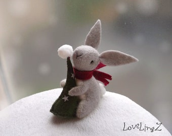 Christmas Winter Bunny with tree, unique decoration artist mini plushie, LovelingZ Collection