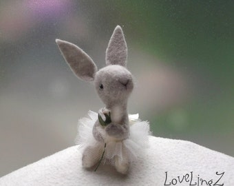 Ballet bunny with cute tutu in gift box, felt mini deco dancer,  unique artist rabbit with pose able arms. LoveLingZ Collection