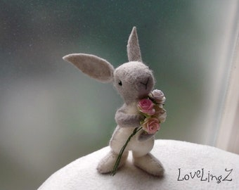 Bunny with roses pose-able hand made mini rabbit- NEW LoveLingZ Collection