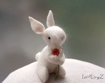 Felt rabbit with daisy, white hand made  unique pose-able mini plushie