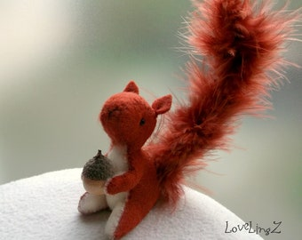 Squirrel mini plushie , unique  hand made felt artist figurine in gift box, Lovelingz Collection