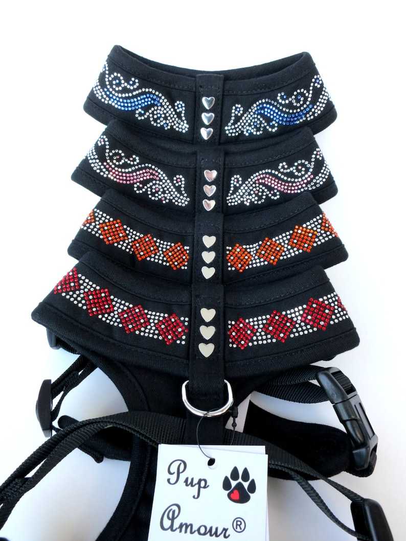 MEDIUM Pink or Red Crystal Rhinestones Blue Retails 69.99 CLEARANCE: Jeweled Dog Collar Vest Harness w FREE  Matching Leash in Orange