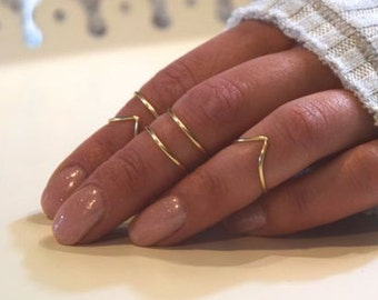 Midi Rings | Boho Chic Jewelry | Knuckle Ring Set | Stacking Bohemian Gold Silver Rings | Minimalistic | Wire Wrap Ring | Midi Ring Set