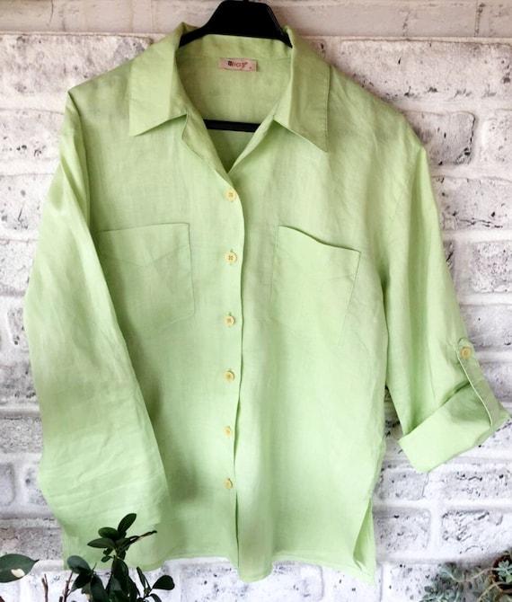 pure linen green pistachio colour shirt XXXL 54 size shirt Vintage women/'s shirt 90s big shirt women/'s  linen blouse ruffle shirt.
