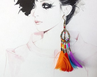 Free Standart Shipping/Colorful Hippie Bohem Feathered  Earrings
