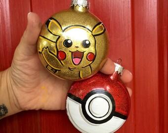 pikachu ornament pokeball ornament pokemon ornament pokemon gift pokeball pikachu pokemon personalized ornament