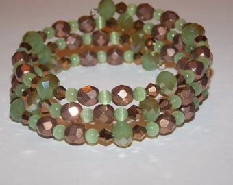 Green and Copper Czech Glass Copper Crystal Memory Wire Wrap Bracelet