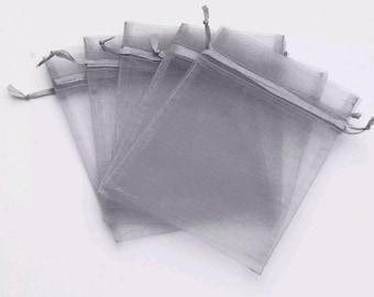 50 Silver Organza Bags 9cm x 12cm