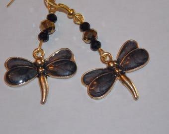 Black Gold Plated Dragonfly Black and Gold Crystal Earrings
