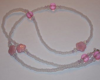 Pink Czech Glass Flower Frosted White Seed Bead Eyeglass Holder Chain