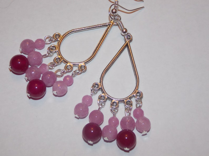 Rose Jade Purple Jade Tibetan Silver Teardrop Chandelier Earrings