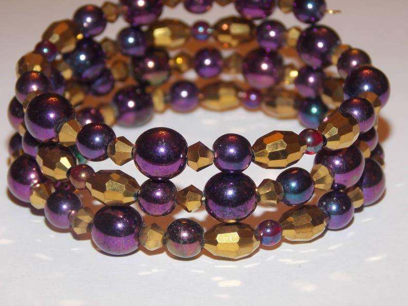 Purple Iris and Gold Czech Glass Memory Wire Wrap Bracelet