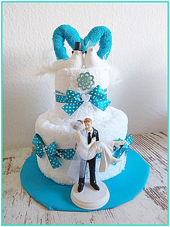 Wedding Cake From Towels Wedding Cake Gift To Marry Turquoise Etsy