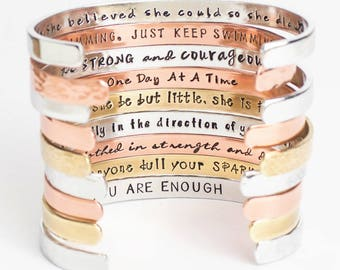 Inspirational Bracelet, Confidence Cuffs™ Hand Stamped Secret Message Bracelets, Inspirational Jewelry, Quote Jewelry Friend Gift