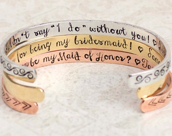 Bridesmaid Bracelets, Thank You Gift, Wedding Party Gifts, Will You Be My Bridesmaid Gift, I Couldn't Say I Do Without You, Custom Cuff