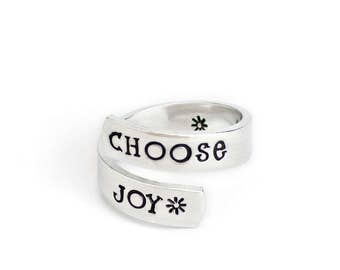 Choose Joy, Inspiration Jewelry, Adjustable Aluminum Wrap Ring, Hand Stamped Ring, Inspirational Jewelry, Affirmation, Mantra Love Life