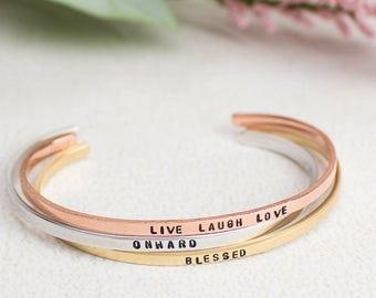 Inspiration Bracelet, Skinny Cuff Bracelet Quote, Personalized Cuff in Sterling Silver, Brass, Copper, Personalized Jewelry, Custom Bracelet