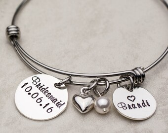 Bridesmaids Gifts, Personalized Bridesmaids Bracelet, Custom Bridesmaids Jewelry, Wedding Party Gifts, Thank You Gift from Bride