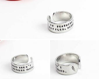 Wide Quote Ring, Inspirational Ring, Confidence, Feather Ring, Inspirational Quote, Message Ring, Word Ring, Cuff Ring, Mantra Ring
