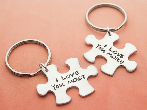 Custom Puzzle Piece Keychain/'s I love you More  Couple/'s Keychain I love you