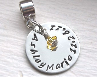 Personalized Charm, Hand Stamped Charm, Mommy Jewelry, Fits European Bead Bracelets, Mom Gift, Childs Name Charm Sterling