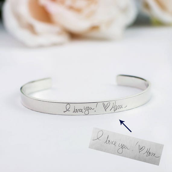 f14850a870a06 Custom Handwriting Jewelry, Actual Handwriting Bracelet, Engraved  Personalized Cuff, Sterling Silver Cuff with Handwriting, Custom Cuff