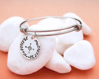Custom Coordinates Jewelry, Expandable Bangle Bracelet, Longitude Latitude Charm Bracelet, Graduation Coordinates Personalized Bracelet